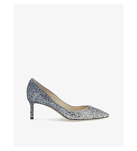 Romy 60 Dégradé Glittered Leather Pumps, Silver/Dusk Blue