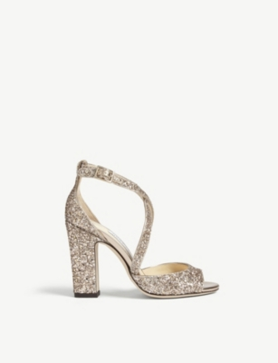 f33ebaa8273e JIMMY CHOO - Carrie 100 glitter sandals | Selfridges.com