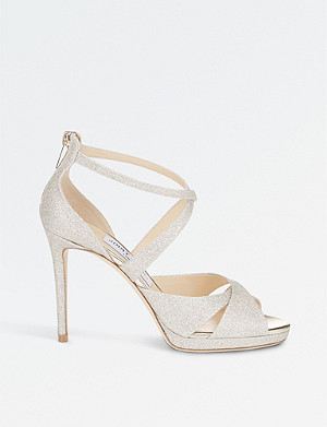 JIMMY CHOO Lorina 100 glitter-leather and satin heeled sandals