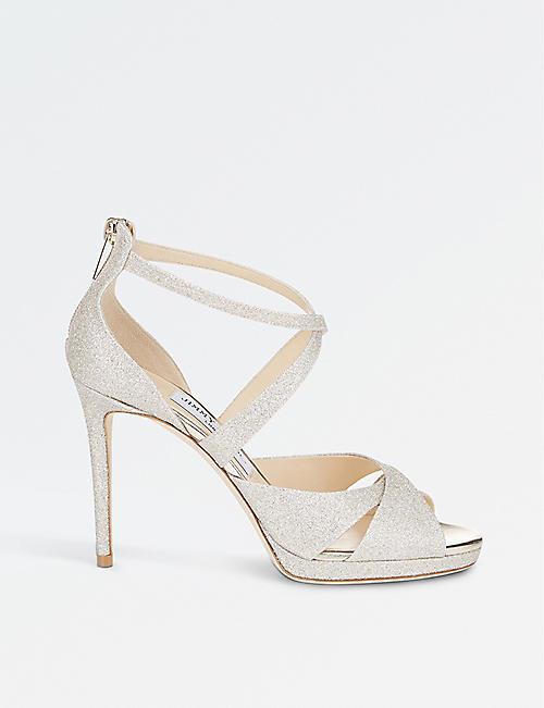 ccbddb27273 JIMMY CHOO Lorina 100 glitter-leather and satin heeled sandals