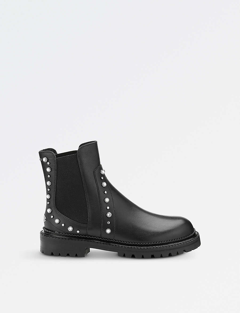 5688b75e51dc9 JIMMY CHOO - Burrow flat leather biker boots | Selfridges.com