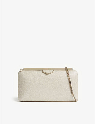 JIMMY CHOO: Ellipse dusty glitter clutch