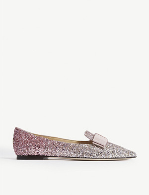 JIMMY CHOO Gala platinum and flamingo ice glitter dégradé pointed toe flats