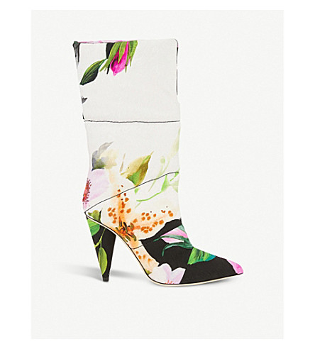 52a52141dd37 ... JIMMY CHOO C O Off-White Sara 100 floral-print padded leather ankle.  PreviousNext