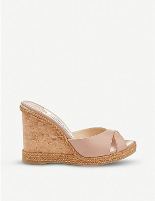 JIMMY CHOO: Almer 105 leather wedge sandals