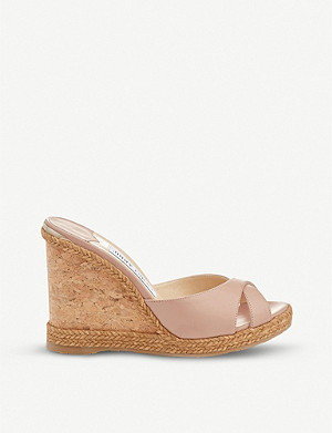 JIMMY CHOO Almer 105 leather wedge sandals