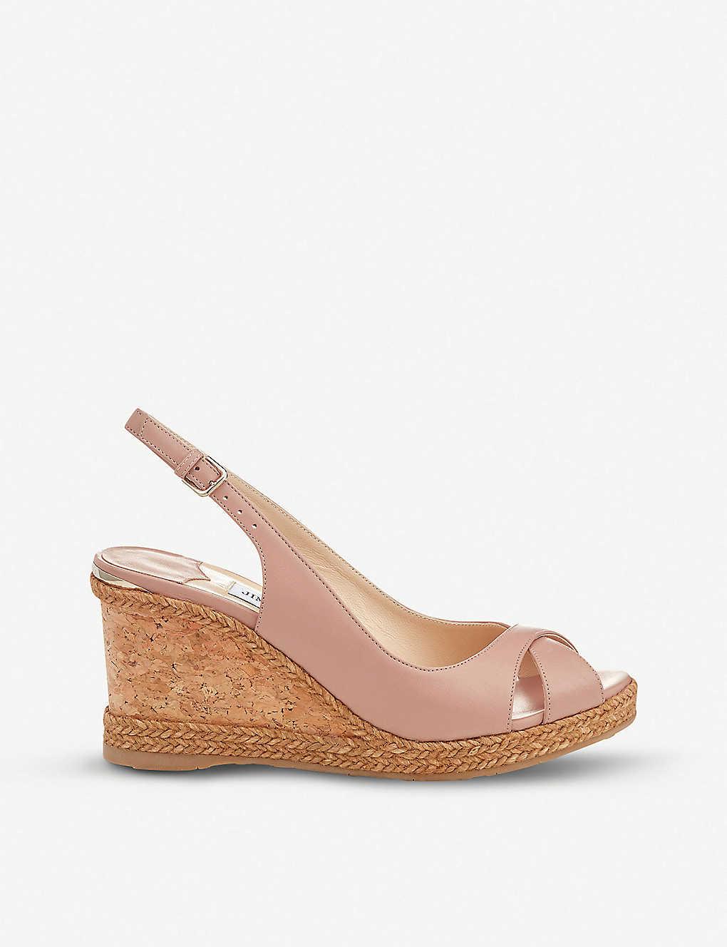 af053a41b8c2 Amely 80 leather slingback wedge sandals - Ballet pink ...