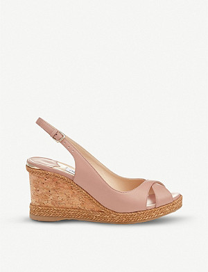 JIMMY CHOO Amely 80 leather slingback wedge sandals