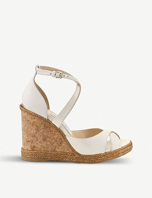 JIMMY CHOO Alanah 105 leather wedge sandals