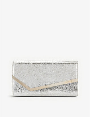 JIMMY CHOO: Emmie glitter leather clutch