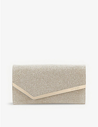 JIMMY CHOO: Emmie glittered clutch