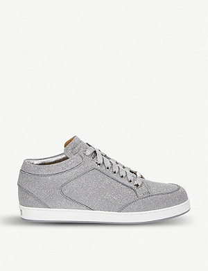 JIMMY CHOO Miami glitter leather trainers