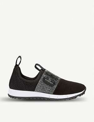 JIMMY CHOO Oakland crystal-embellished suede and mesh trainers