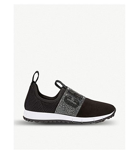 Jimmy Choo Oakland/f Black Mesh And Suede Trainers With Crystal Detailing In Black/black