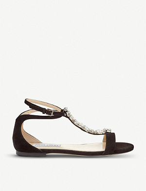 JIMMY CHOO Averie embellished suede sandals