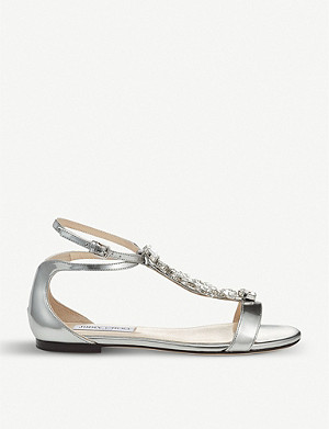 JIMMY CHOO Averie embellished metallic-leather sandals