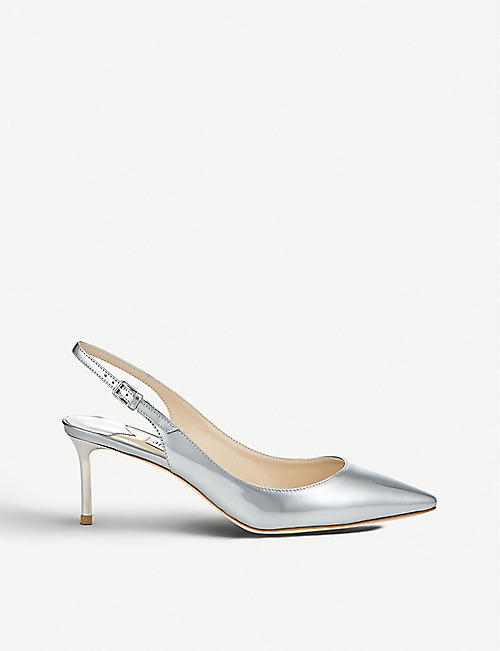 JIMMY CHOO Erin 60 metallic leather slingback pumps