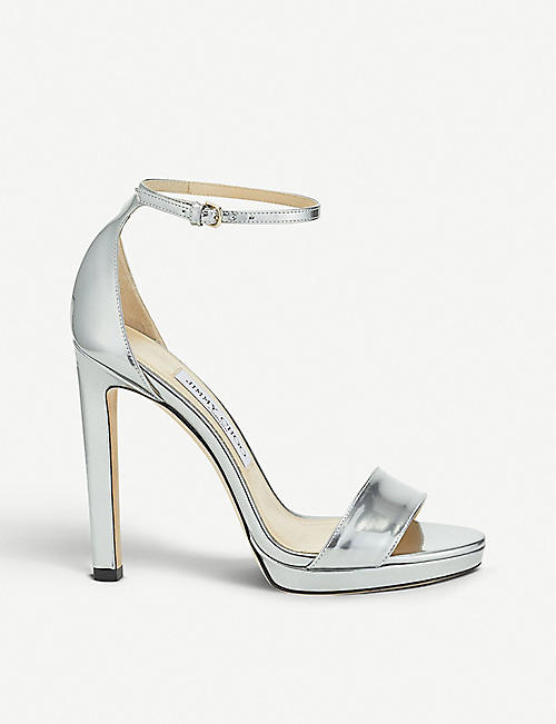 JIMMY CHOO: Misty 120 metallic-leather heeled sandals