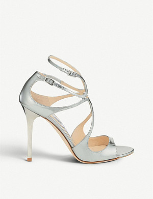 JIMMY CHOO Lang 100 metallic leather heeled sandals