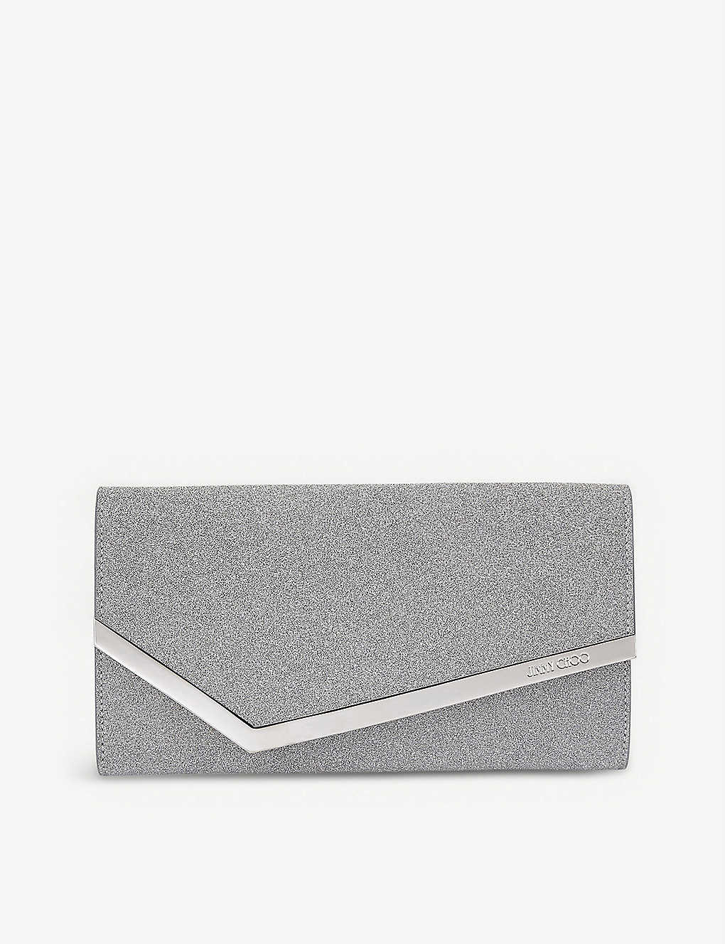 JIMMY CHOO: Emmie glittered leather mini clutch