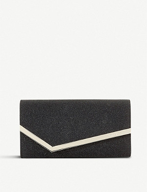 JIMMY CHOO Emmie glitterd leather clutch