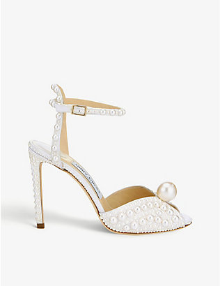 JIMMY CHOO: Sacora 100 pearl-embellished satin sandals