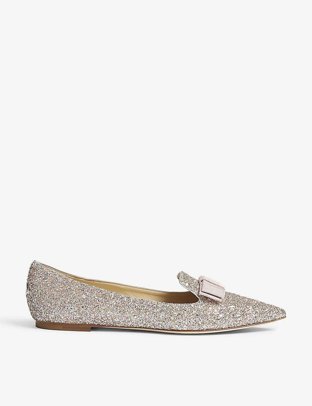 233587486 JIMMY CHOO - Gala glitter pointed-toe flats | Selfridges.com