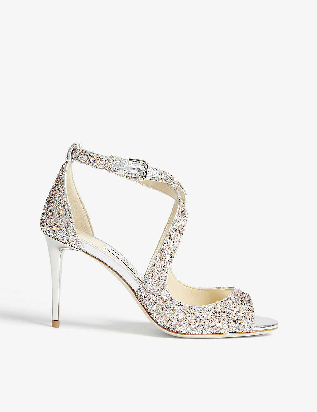 f2eb385d5d2 JIMMY CHOO - Emily 85 glitter heeled sandals | Selfridges.com