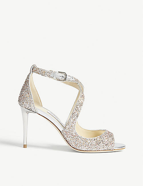 28dd44afdb21 JIMMY CHOO Emily 85 glitter heeled sandals