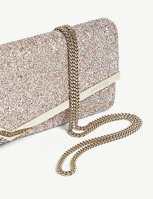 JIMMY CHOO Emmie speckled glitter and suede clutch
