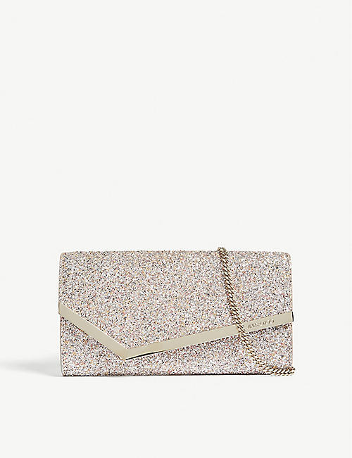 8c630196469 JIMMY CHOO Emmie speckled glitter and suede clutch
