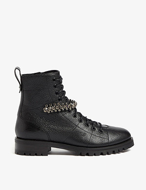 JIMMY CHOO Cruz embellished leather ankle boots
