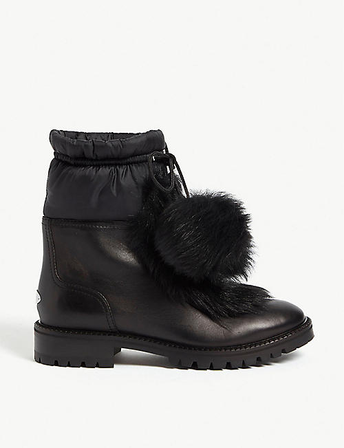 JIMMY CHOO Glacie shearling and leather ankle boots