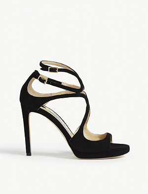JIMMY CHOO Lance 100 suede heeled sandals