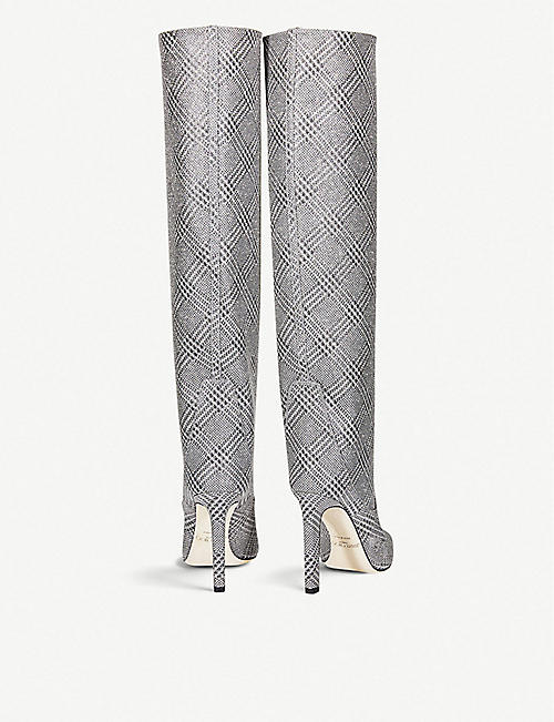 JIMMY CHOO Mavis 100 glitter knee-high boots