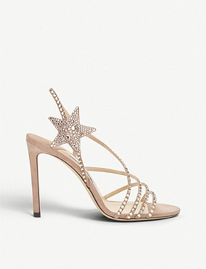 JIMMY CHOO Lynn 100 bead-embellished suede sandals