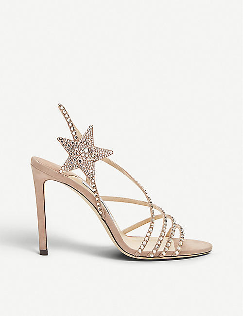 f6c23ff12253 JIMMY CHOO Lynn 100 bead-embellished suede sandals