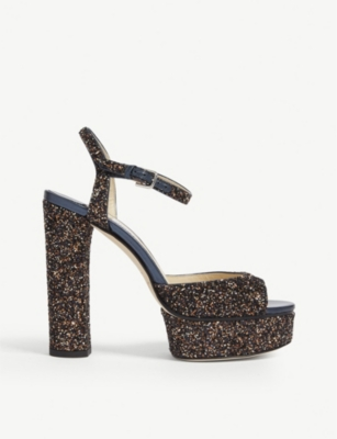 JIMMY CHOO Peachy glittered sandals