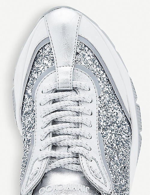 JIMMY CHOO Raine glitter-embellished leather trainers