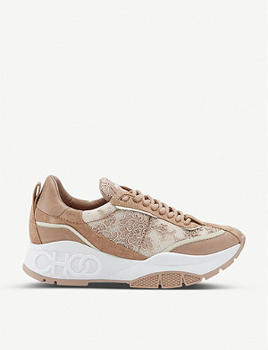 JIMMY CHOO Raine Ballet lace-and-leather trainers