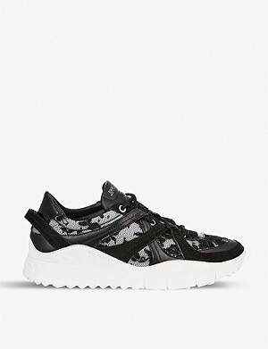 JIMMY CHOO Seattle leather-trimmed floral-mesh trainers