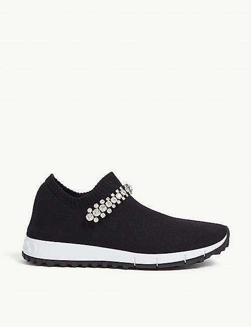 JIMMY CHOO Verona crystal-embellished knitted trainers