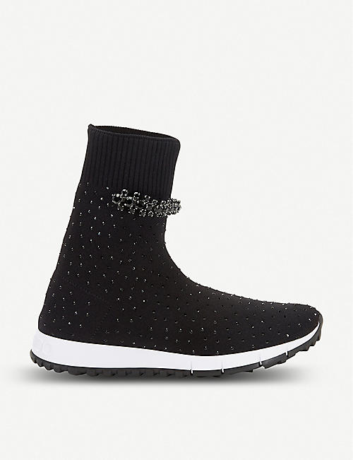 JIMMY CHOO Regena embellished stretch-knit high-top trainers