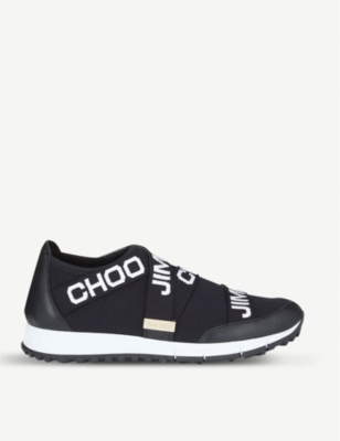 JIMMY CHOO Toronto leather and stretch-knit trainers