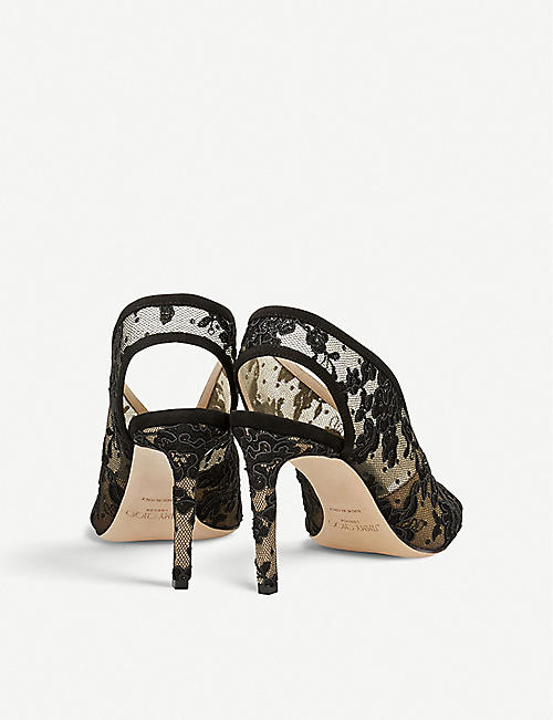 JIMMY CHOO Shar 85 floral-lace peep-toe sandals