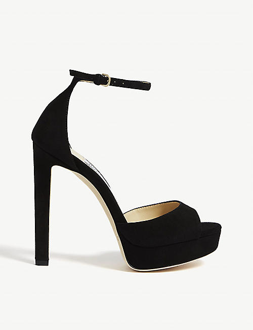 JIMMY CHOO: Pattie 130 suede sandals