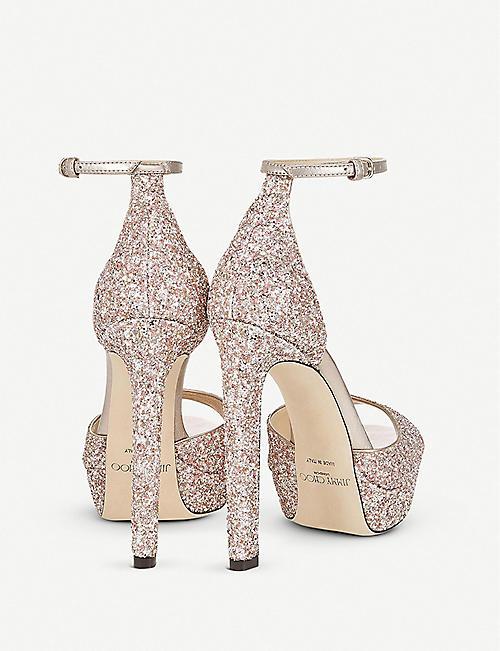 9eb6f4ed92 JIMMY CHOO Pattie 130 glitter platform sandals