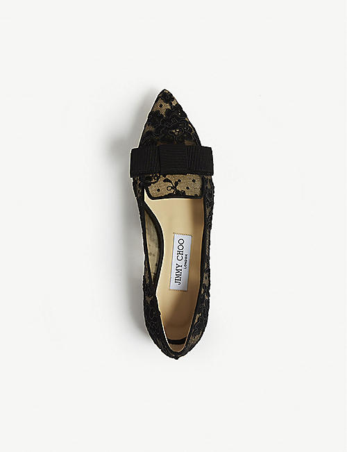 JIMMY CHOO Gala floral-lace pointed-toe flats