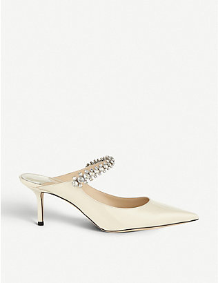 JIMMY CHOO: Bing 65 crystal-embellished patent-leather heeled mules