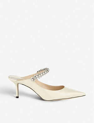 JIMMY CHOO Bing 65 crystal-embellished patent-leather heeled mules